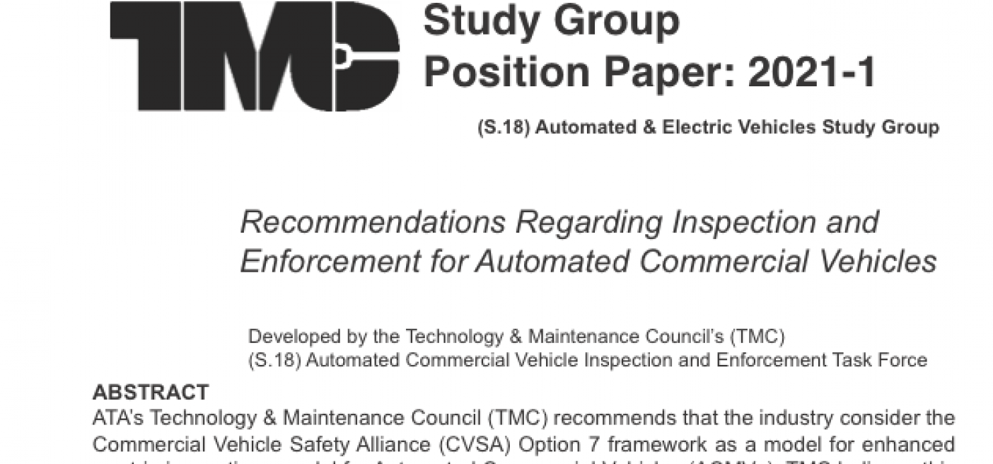 TMC S.18 Study Group Position Paper: Recommendations Regarding Inspection and Enforcement for Automated Commercial Vehicles