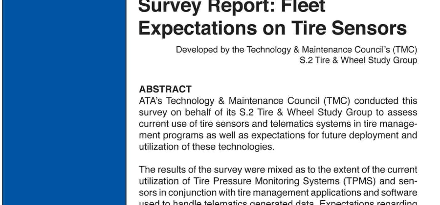 Tire & Wheel Study Group Survey Report: Fleet Expectations on Tire Sensors